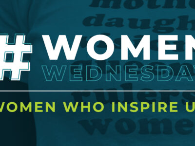 Blue header that reads #Women Wednesday and women who inspire us.