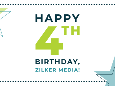 The image reads Happy Birthday, Zilker Media in teal and green text
